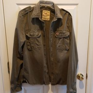 Hollister military style distressed look XLshirt